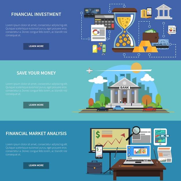 Finanz banner horizontal set Kostenlosen Vektoren