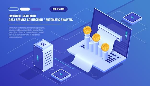 Finanzbericht, analyse und statistik online services, laptop mit zahlungsplan Kostenlosen Vektoren