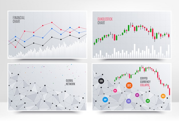 Finanzdiagramm mit liniendiagramm Premium Vektoren