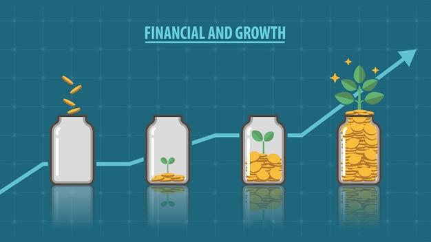 Finanziell und wachstum Premium Vektoren