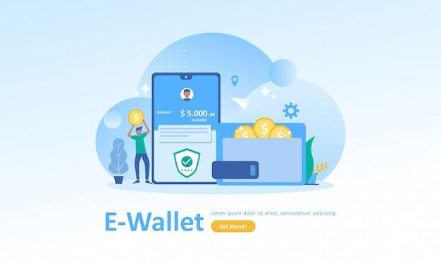 Finanzielle einsparungen und online-zahlung Premium Vektoren