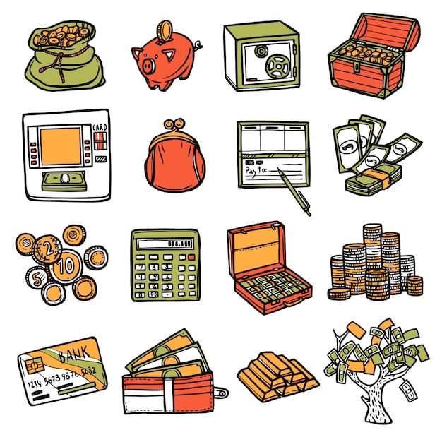Finanzielle icons set Kostenlosen Vektoren