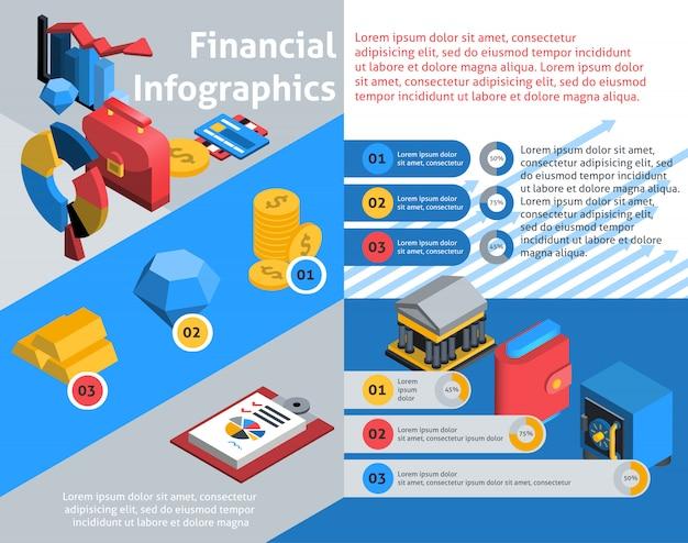 Finanzielle infografiken isometrisch Kostenlosen Vektoren