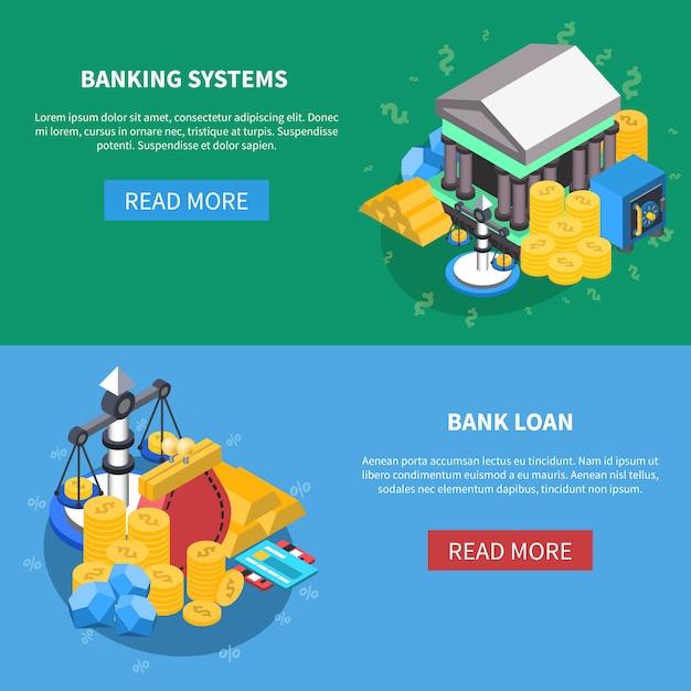 Finanzielle isometrische icons banner set Kostenlosen Vektoren