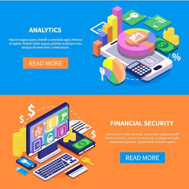 Finanzielle sicherheit isometrische banner Kostenlosen Vektoren