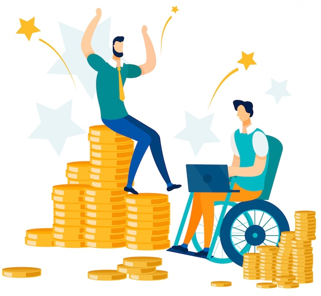 Finanzieller erfolg und büroangestellte Premium Vektoren