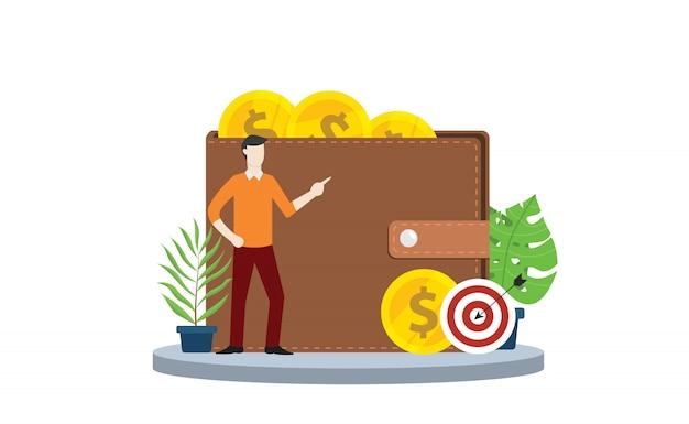 Finanzielles persönliches ziel mit geldbeutel- und goldmünzgeld Premium Vektoren
