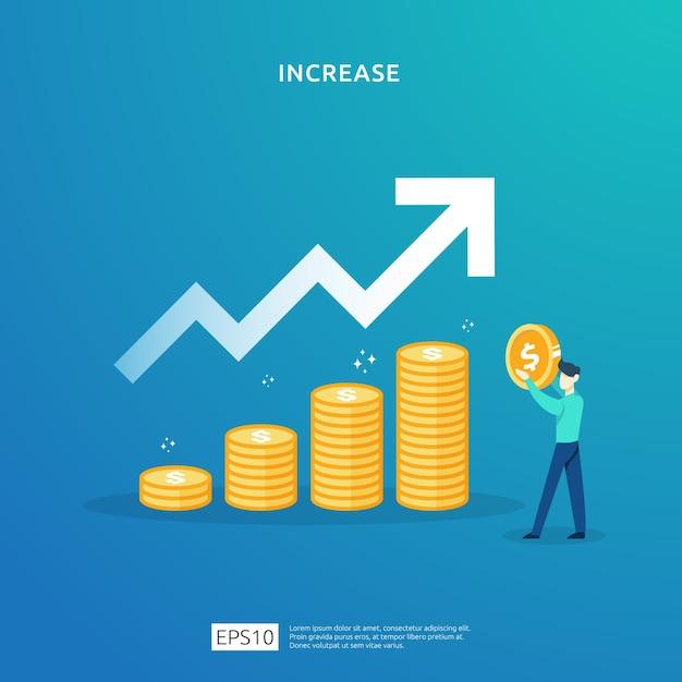 Finanzierungsperformance des return on investment roi. Premium Vektoren