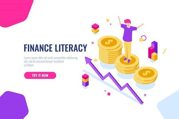 Finanzkompetenz isometrisch, geldbuchhaltung, wirtschaftliche illustration mit frau, die auf dem podium steht Kostenlosen Vektoren