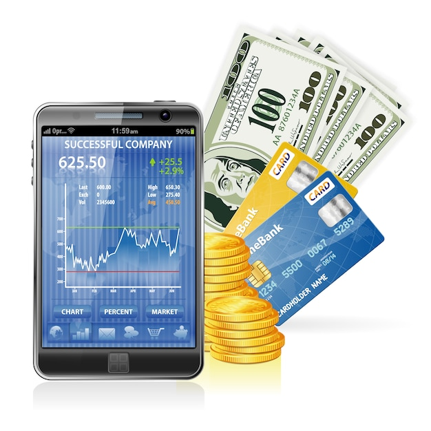 Finanzkonzept - geld verdienen im internet Premium Vektoren