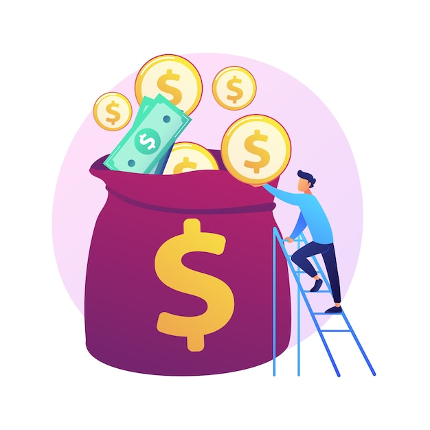Finanzmanagement. budgetbewertung, finanzkompetenz, buchhaltungsidee. finanzier mit bargeld, wirtschaftswissenschaftler mit goldener münze zeichentrickfigur. Kostenlosen Vektoren