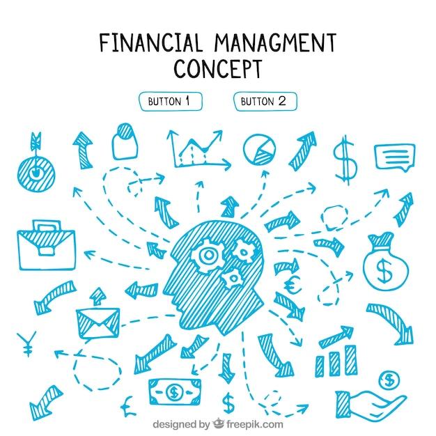 Finanzmanagement mit handgezeichneten elementen Kostenlosen Vektoren