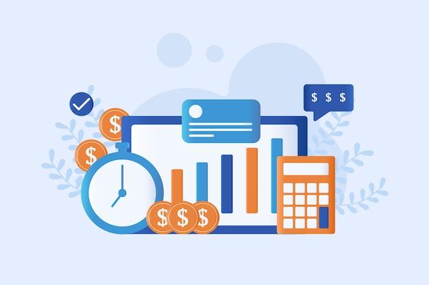 Finanzmanagement-vektorillustration flach Premium Vektoren