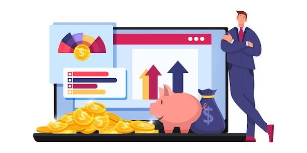 Finanzprüfungssteuerbericht oder geschäftsanalysekonzept der risikoanalyse mit händler, laptop, graphen. Premium Vektoren