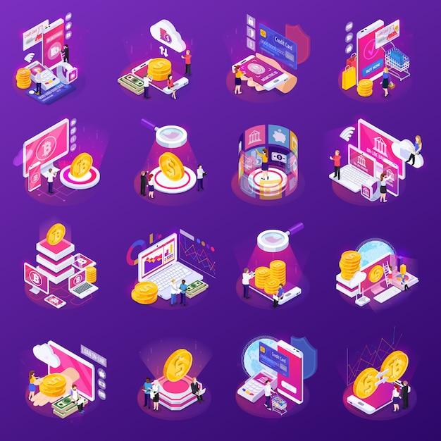 Finanztechnologiesatz isometrische ikonen mit glühen auf purpur lokalisiert Kostenlosen Vektoren