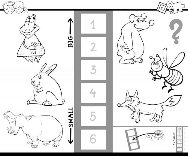 Finde das größte Tier Spiel Farbbuch | Download der Premium Vektor