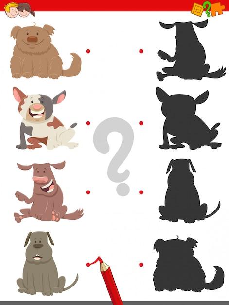 Finde das schatten-lernspiel mit hunden Premium Vektoren