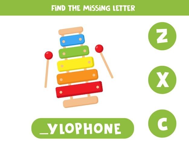 Finde fehlenden buchstaben mit cartoon-xylophon. lernspiel für kinder. arbeitsblatt zur rechtschreibung in englischer sprache für kinder im vorschulalter. Premium Vektoren