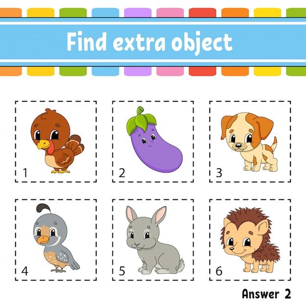 Finde zusätzliches objekt. arbeitsblatt für pädagogische aktivitäten für kinder und kleinkinder. Premium Vektoren