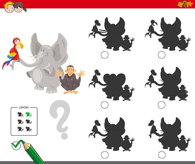 Finden des schatten-lernspiels für kinder Premium Vektoren