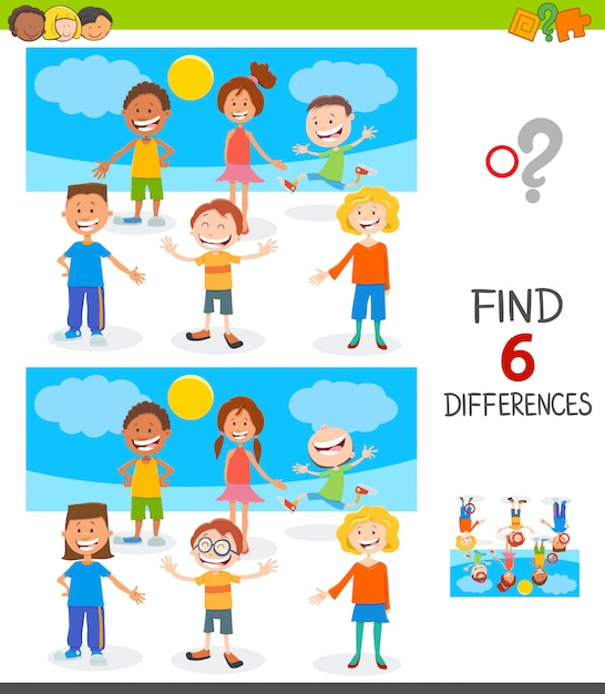 Finden des unterschiedspiels mit glücklichen kindern Premium Vektoren