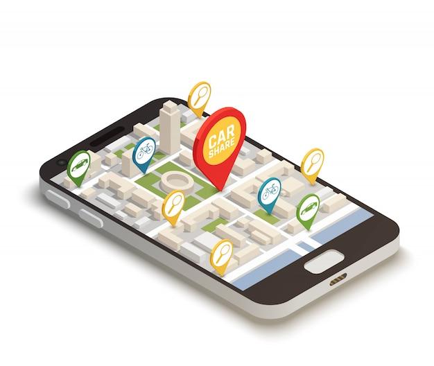 Finden sie auto online abstrakte komposition Kostenlosen Vektoren