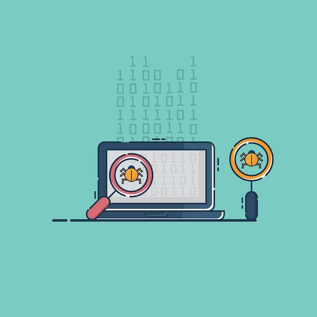 Finden sie bug-virus und fehler bei der programmierung der codierung auf dem laptop Premium Vektoren