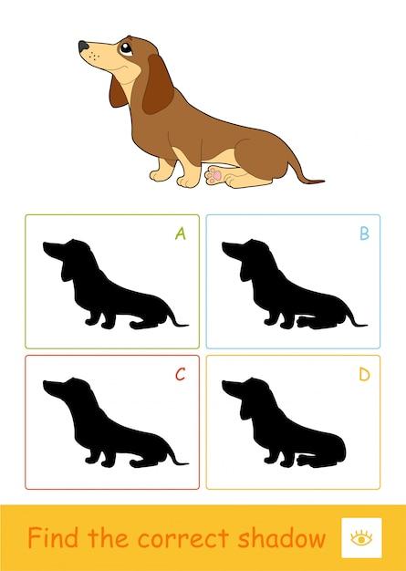 Finden sie das richtige schattenquiz-lernspiel für kinder mit einer einfachen illustration des sitzenden hundes und vier schattenschatten für die jüngsten kinder. spaß und lernen von pers für kinder. Premium Vektoren
