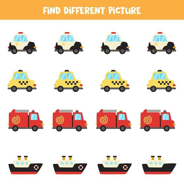 Finden sie transportmittel, die sich von anderen unterscheiden. arbeitsblatt zum thema transport. Premium Vektoren