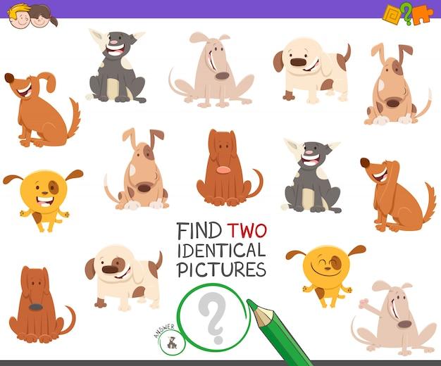 Finden sie zwei identische bilder lernspiel mit hunden Premium Vektoren