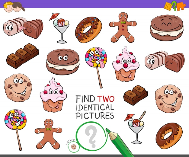 Finden sie zwei identische bilder spiel mit süßigkeiten Premium Vektoren
