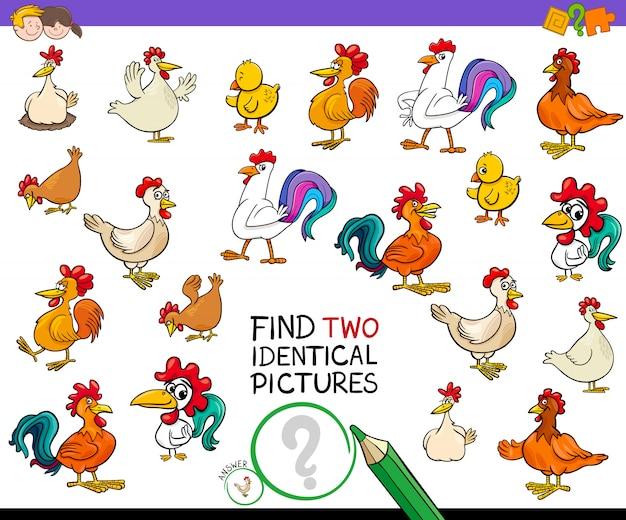 Finden sie zwei identische hühnerbilder für kinder Premium Vektoren