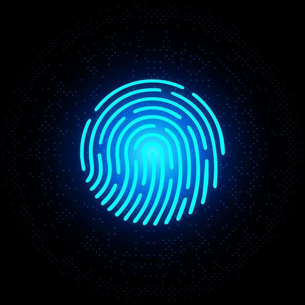 Fingerabdruck blaues neon auf dunklem hintergrund Premium Vektoren