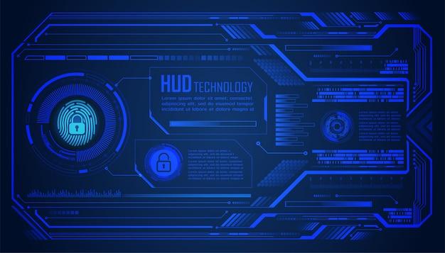 Fingerabdruck-hud geschlossenes vorhängeschloss auf digitalem hintergrund, cybersicherheit Premium Vektoren