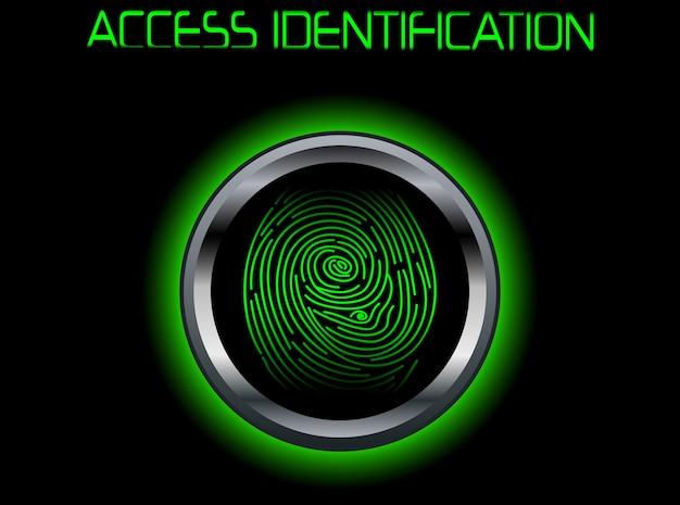 Fingerabdruck-scan-zugriffsidentifikation Premium Vektoren