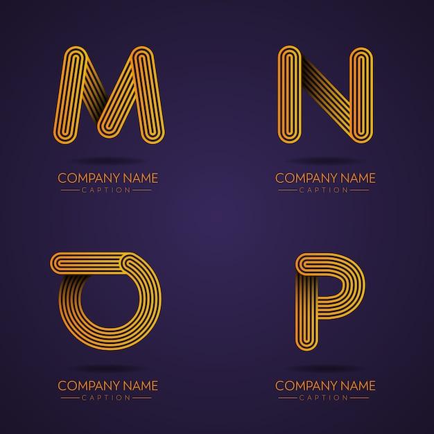 Fingerabdruck-stil professional letter mnop logos Premium Vektoren