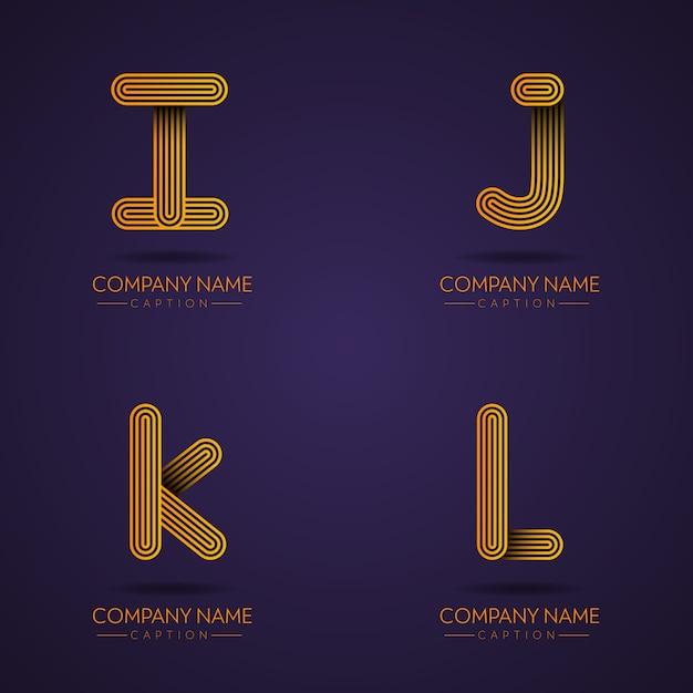 Fingerabdruck-stil professionelle brief ijkl logos Premium Vektoren