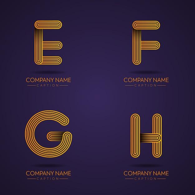 Fingerabdruck-stil professioneller brief efgh logos Premium Vektoren