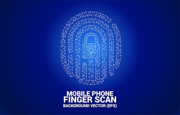 Fingerabdruck-symbol aus punkt und linie leiterplattenstil. Premium Vektoren