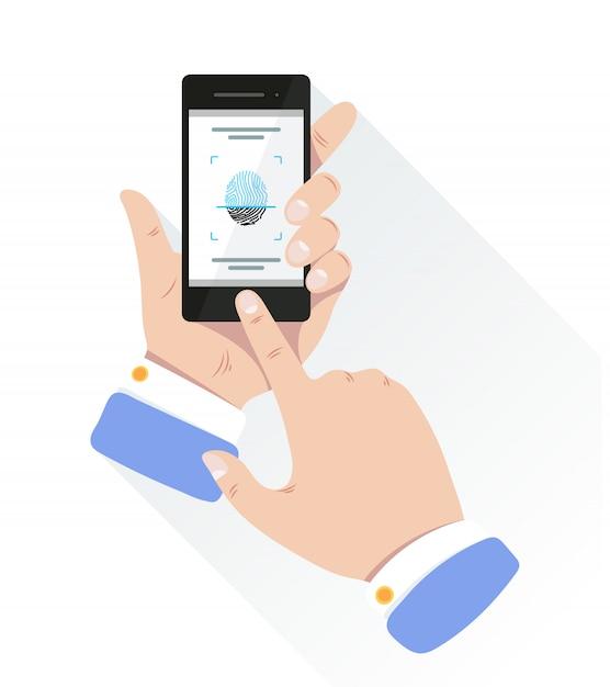 Fingerabdruck zur persönlichen identifizierung zum entsperren des smartphones. Premium Vektoren