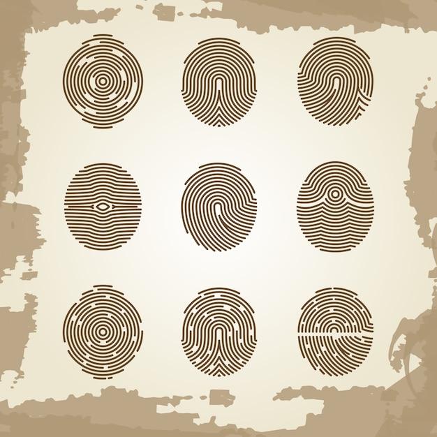 Fingerabdrucksammlung auf schmutzweinlesehintergrund Premium Vektoren