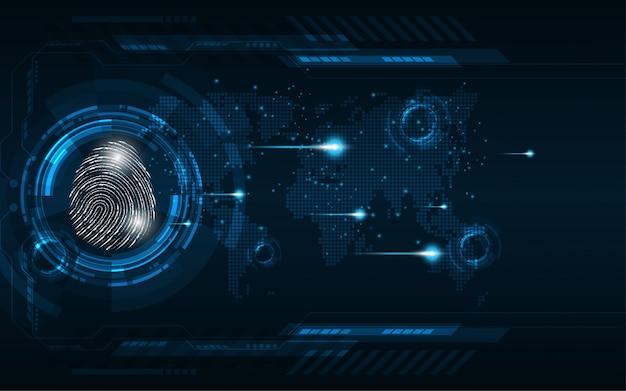 Fingerabdruckscan des digitalen sicherheitskonzeptes cyber Premium Vektoren