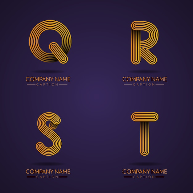 Fingerprint style professionelle brief qrst logos Premium Vektoren