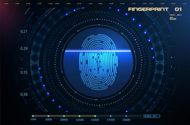 Fingerscan im futuristischen hud ui gui-stil Premium Vektoren