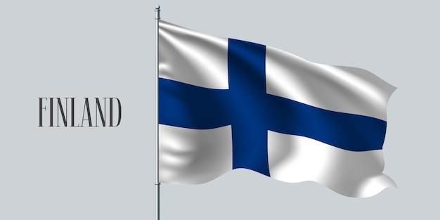 Finnland winkende flaggenillustration Premium Vektoren