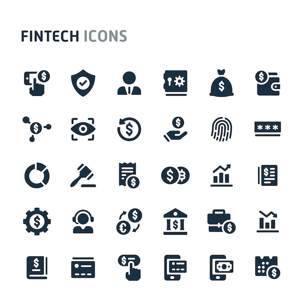 Fintech icon set. fillio black icon-serie. Premium Vektoren