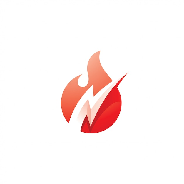 Fire flame und flash lightning bolt logo Premium Vektoren