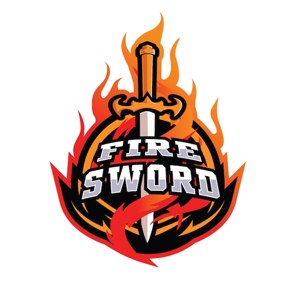 Fire swords e sports-logo Premium Vektoren