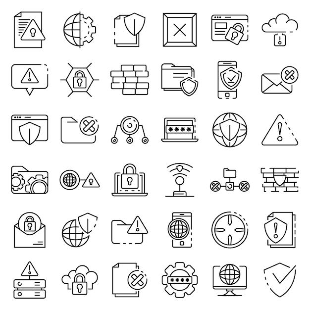 Firewall-symbole festgelegt, umriss-stil Premium Vektoren