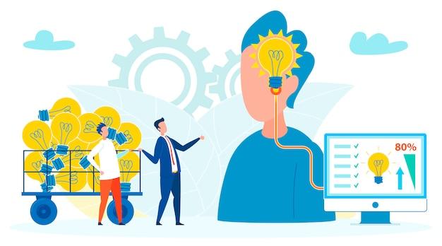 Firmen, die leute für ideen-illustration ausnutzen Premium Vektoren